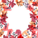 Het leuke kader van de waterverfbloem Achtergrond met waterverf rode flo Stock Afbeeldingen