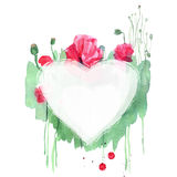 Het leuke kader van de waterverfbloem Achtergrond met waterverf roze po Royalty-vrije Stock Foto's