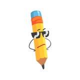 Het leuke karakter die van het beeldverhaal gele potlood zonnebril, vermenselijkte grappige potlood vectorillustratie dragen Royalty-vrije Stock Afbeeldingen
