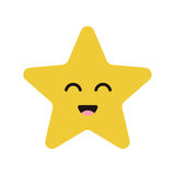 Het leuke karakter van de beeldverhaal gelukkige ster met glimlach stock illustratie