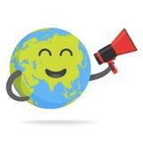 Het leuke karakter van de beeldverhaalaarde De bol van de wereldkaart met smileygezicht en handen vectorillustratie stock illustratie