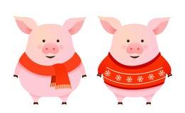 Het leuke karakter van de wintervarkens royalty-vrije illustratie