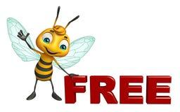 het leuke karakter van het Bijenbeeldverhaal met vrij teken Stock Foto