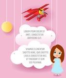 Het leuke karakter van het meisjesbeeldverhaal Vectordocument kunst van wolk en vliegtuig die in de hemel vliegen Malplaatje recl royalty-vrije illustratie