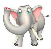 Het leuke karakter van het Olifants grappige beeldverhaal Stock Foto's