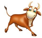 Het leuke karakter van het Stieren grappige beeldverhaal Stock Afbeeldingen