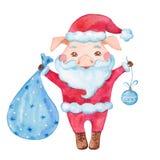 Het leuke karakter van het waterverfvarken in een Kerstman` s cardigan en een rode hoed royalty-vrije illustratie
