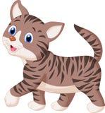 Het leuke kattenbeeldverhaal lopen Stock Afbeelding