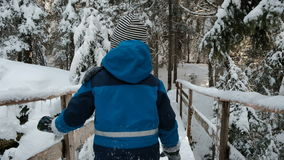 Het leuke kind gaat zorgvuldig langs houten brug, de winterlandschap stock video