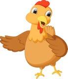 Het leuke kippenbeeldverhaal golven Stock Foto
