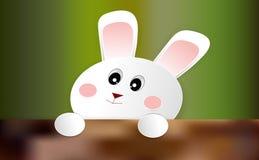 Het leuke kleine konijn verschijnt van de hoek van de muur Gelukkig Pasen-concept, document kunst, illustratie-vector royalty-vrije illustratie