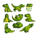 Het leuke kleurrijke groene karakter van Dino in verschillend stelt stock illustratie