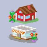 Het leuke kleurrijke vlakke van het het dorpspixel van het stijlhuis van de kunstonroerende goederen plattelandshuisje en het hui Stock Afbeelding