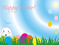 Het leuke konijn van Pasen, groot voor een snelle kaart, document Stock Illustratie