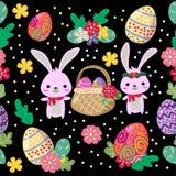 Het leuke Konijntje en het paaseieren naadloze patroon met kleurrijke bloem koelen achtergrond voor Pasen-festival vector illustratie