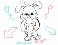 Het leuke konijntjeskonijn lopen Stock Afbeelding