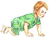 Het leuke Kruipen van de Baby Royalty-vrije Stock Afbeeldingen