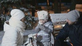 Het leuke meisje drinkt een thee van thermosflessen met familie in het park van de avondwinter stock videobeelden