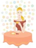 Het leuke meisje drinkt thee Royalty-vrije Stock Foto