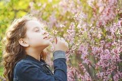 Het leuke meisje geniet van de geur van tot bloei komende amandelbloem Gezond, royalty-vrije stock foto's