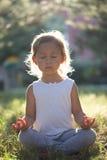 Het leuke meisje 4 - 5 jaar het oude mediteren bij groen de zomerpark in lotusbloem stelt Royalty-vrije Stock Afbeelding