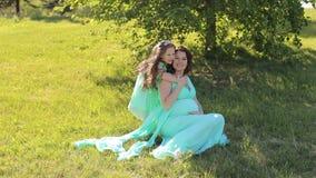 Het leuke meisje koestert erachter haar zwanger mamma van door de hals in het Park op het gras stock videobeelden