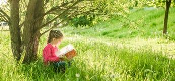 Het leuke meisje las het boek stock afbeeldingen
