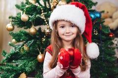 Het leuke meisje in rode hoed houdt een boomdecoratie Stock Foto's
