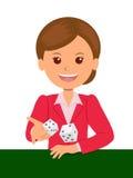 Het leuke meisje in rood kostuum werpt dobbelt op een spellijst Casinospelen Geïsoleerdee vectorillustratie vector illustratie