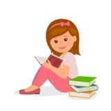 Het leuke meisje in roze zit en leest een boek Conceptontwerp terug naar school in een vlakke stijl Stock Afbeeldingen