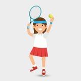 Het leuke meisje speelt tennisontwerp stock illustratie