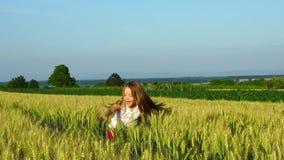 Het leuke meisje spelen in de zonnige dag van het tarwegebied, langzame motie stock videobeelden