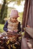 Het leuke meisje spelen met mand van druiven in zonnige de herfstdag Royalty-vrije Stock Foto's