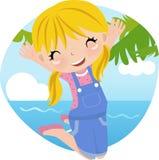 Het leuke meisje springen Royalty-vrije Stock Fotografie