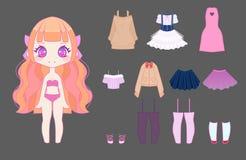 Het leuke meisje van animechibi Stock Afbeeldingen