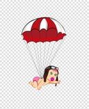 Het leuke meisje van de beeldverhaalbaby in proefhoed die met valscherm vliegen vector illustratie