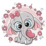 Het leuke meisje van de Beeldverhaalolifant met hart en bloemen stock illustratie