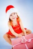 Het leuke meisje van de Kerstman Stock Afbeelding