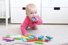 Het leuke meisje van de 6 maandbaby speelt thuis houten multicolored meccano Stock Foto's
