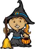 Het leuke Meisje van Halloween in het Kostuum van de Heks Stock Foto