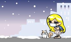 Het leuke meisje wordt koud met kat Stock Afbeelding