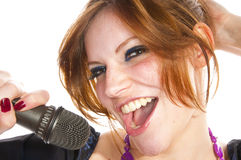 Het leuke meisje zingen Stock Afbeeldingen