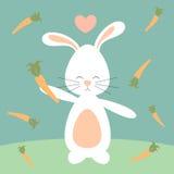 Het leuke mooie konijn van het beeldverhaalkonijntje en wortelen grappige illustratie Royalty-vrije Stock Afbeeldingen