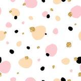 Het leuke mooie naadloze patroon met hand getrokken schetsplons met goud schittert textuur Achtergrond, textiel, textuur, stof Stock Afbeeldingen
