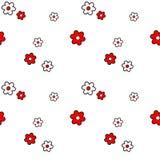 Het leuke mooie zwarte witte rode madeliefje bloeit naadloze patroonillustratie als achtergrond royalty-vrije illustratie