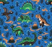 Het leuke naadloze patroon van beeldverhaaldinosaurussen in rode, groene en blauwe kleuren Vector illustratie stock illustratie