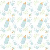Het leuke naadloze patroon van de babyjongen voor textiel, druk, groetkaarten, verpakkend document, behang vectorillustratieblauw stock illustratie