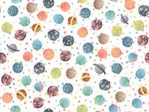 Het leuke naadloze patroon van de beeldverhaalastronomie Achtergrond met gekleurde van zonnestelselplaneet en exo asronomical pla vector illustratie