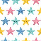Het leuke naadloze patroon van de jonge geitjeszeester voor meisjes en jongens Kleurrijke zeesterachtergrond Kawaiistijl vector illustratie