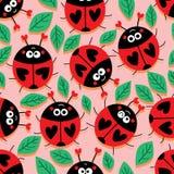 Het leuke naadloze patroon van de lieveheersbeestjeliefde stock illustratie